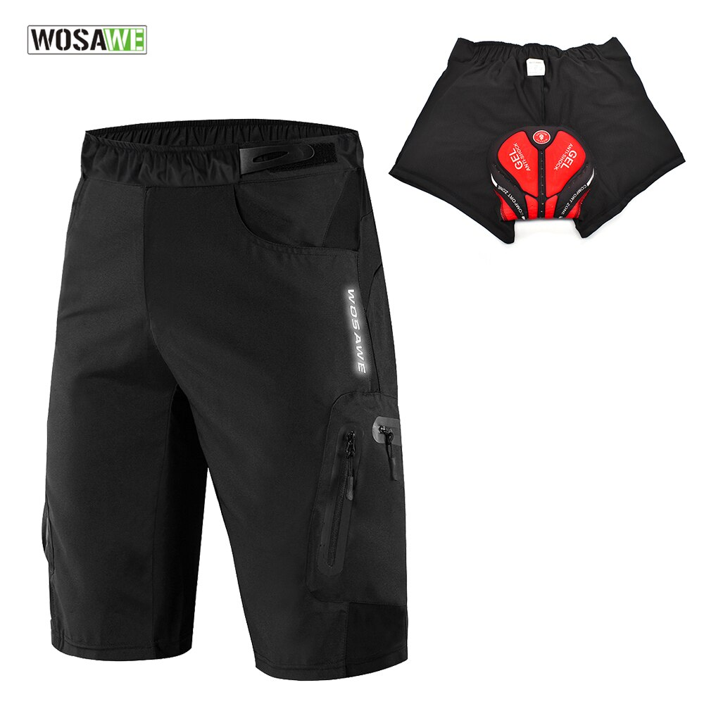 WOSAWE Loose Cycling Shorts 3D Padded Outdoor Sports Rain Dirty Resistance Breathable Bicycle Downhill Bike Racing MTB