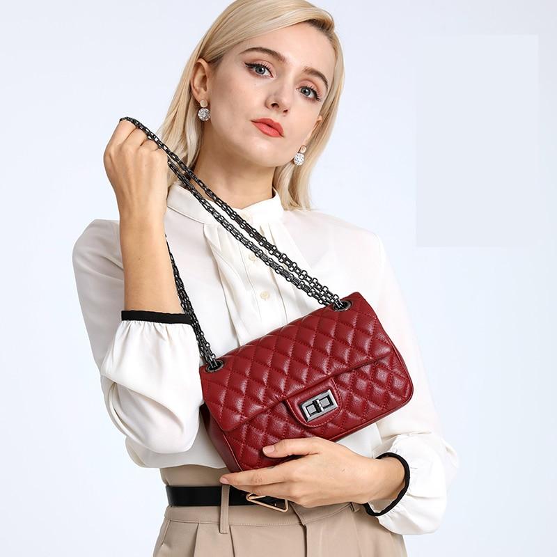 Vintage Embroider Bag  Genuine Leather Luxury Brand Handbag Chain Strap Crossbody Shoulder For Fashion Soft Women