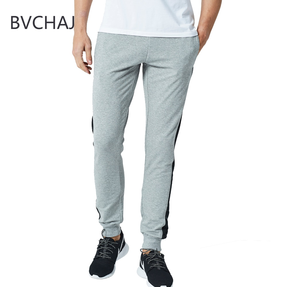 Spring and Autumn Trace Pants Men's Casual Jogging Fitness Trace Pants Straight Foot Side Print European Size Hip Hop Tracks