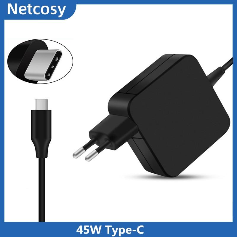 Adaptador de corriente alterna tipo C USB de 45W para Asus ZenBook 3 UX390, para HP Spectre x360, para Lenovo ThinkPad X1, para Macbook 45W