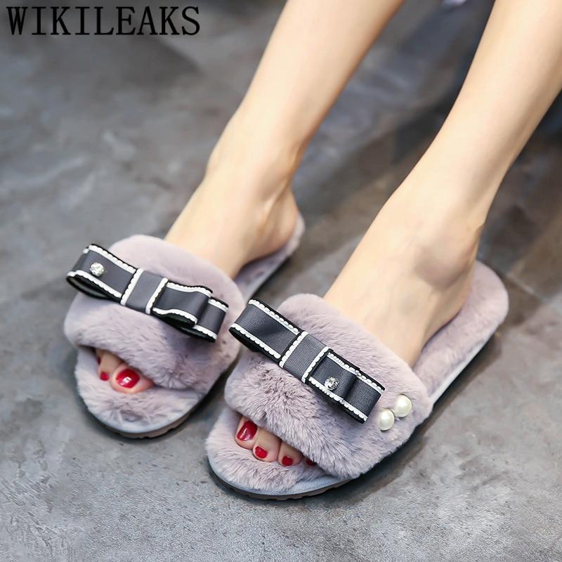 Pantuflas mullidas de mujer, pantuflas de peluche para el hogar, zapatillas planas de interior, 42 zapatos de mujer de gran tamaño, zapatos de piel de goma, lindas zapatillas de mujer