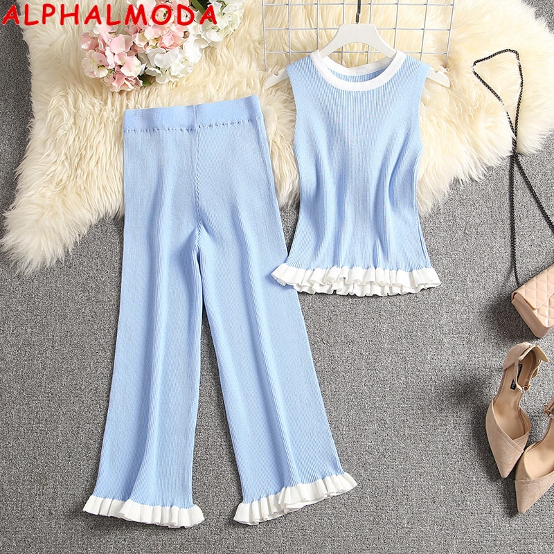 ALPHALMODA New Style Sleeveless Knit Top + Mid-calf Pants Women Fashion 2pcs Summer Set Ladies Casual Frilled Top Pants Suit