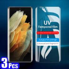 3/5 шт. с уровнем твердости 9H для Samsung Galaxy s21 ультра s20 Примечание 20 10 pro s10 5G s9 s8 плюс УФ пленка из закаленного стекла для мобильного телефона, Защ...