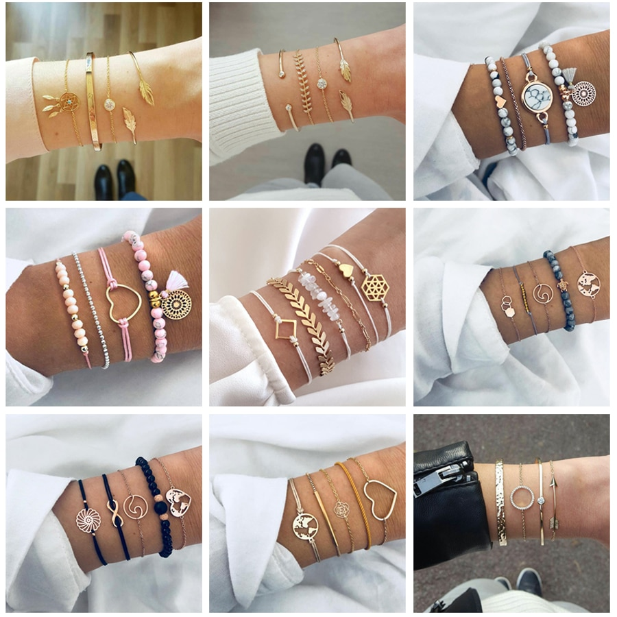 Tocona 30 Styles Bohemian Bracelet Set for women Shell Star Map Pineapple Heart Natural stone Beads