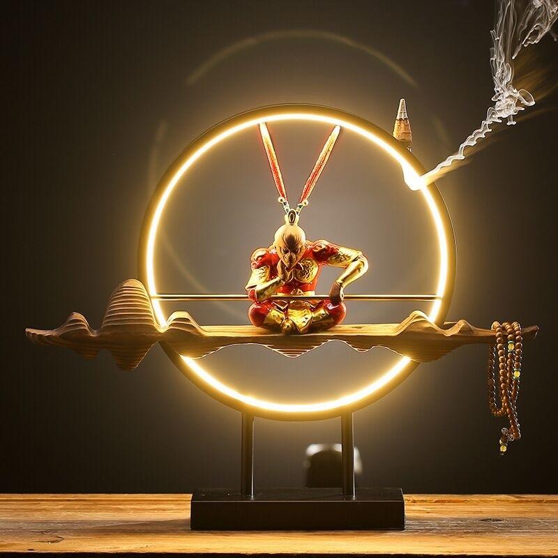 Chinese Zen Layout Living Room Sun Wukong Backflow Incense Burner Desktop Decoration Home Accessories