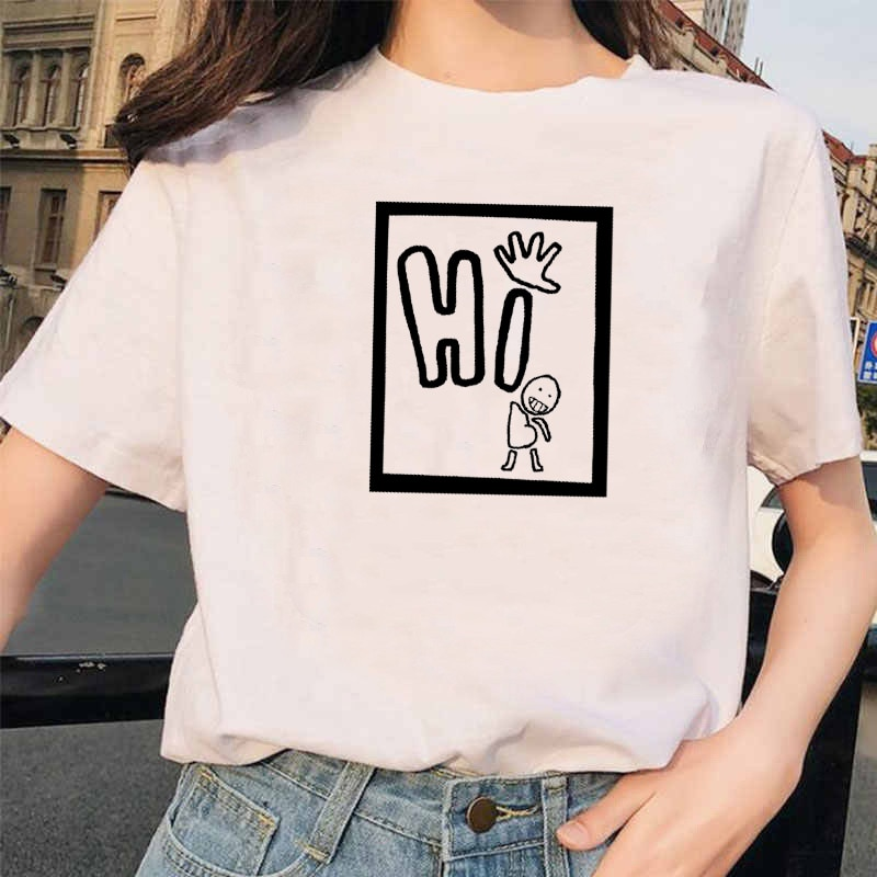 Женская хлопковая свободная футболка с надписью, Повседневная футболка с надписью, в стиле Харадзюку, модная парная Готическая уличная жен...