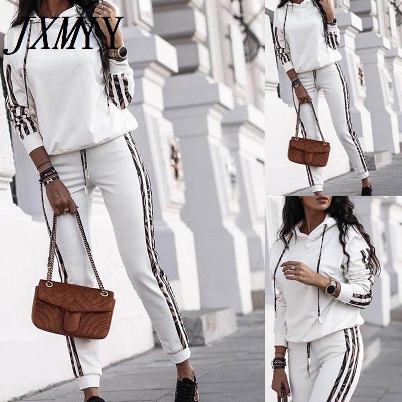JXMYY 2020 خريف منتجات جديدة الأوروبية والأمريكية المرأة رائجة البيع موضة ملابس رياضية من قطعتين غير رسمية
