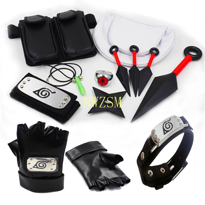 Akatsuki Uchiha Kakashi Cosplay Gloves Mask Turban Anime Accessories Kunai Notebook Numerical Sign Props New