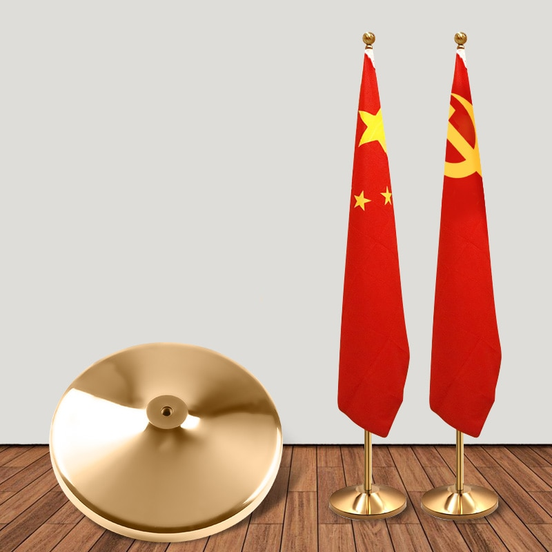 Высокое качество 2 м высота золото Телескопический гибкий флагшток декоративный офис Крытый флагшток с подставкой
