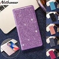 glitter leather magnet flip case for samsung s21 ultra s20 s10 s9 s8 plus s6 edge note 8 9 10 20 slim wallet j4 j6 j8 2018 cover
