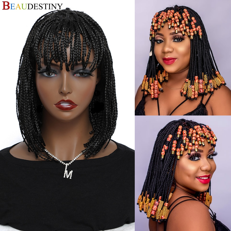Cheap Braided Wigs For Black Women Heat Resistant Crochet Box Braided Bob Wig With Bangs African Synthetic Braiding Hair Wig Bob