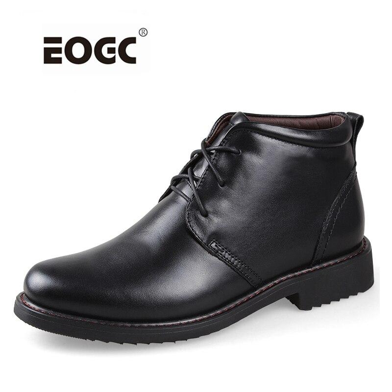 Botas de hombre de talla grande muy cálidas botas de nieve de cuero natural genuino botas de tobillo hechas a mano para zapatos de otoño e invierno Dropshipping