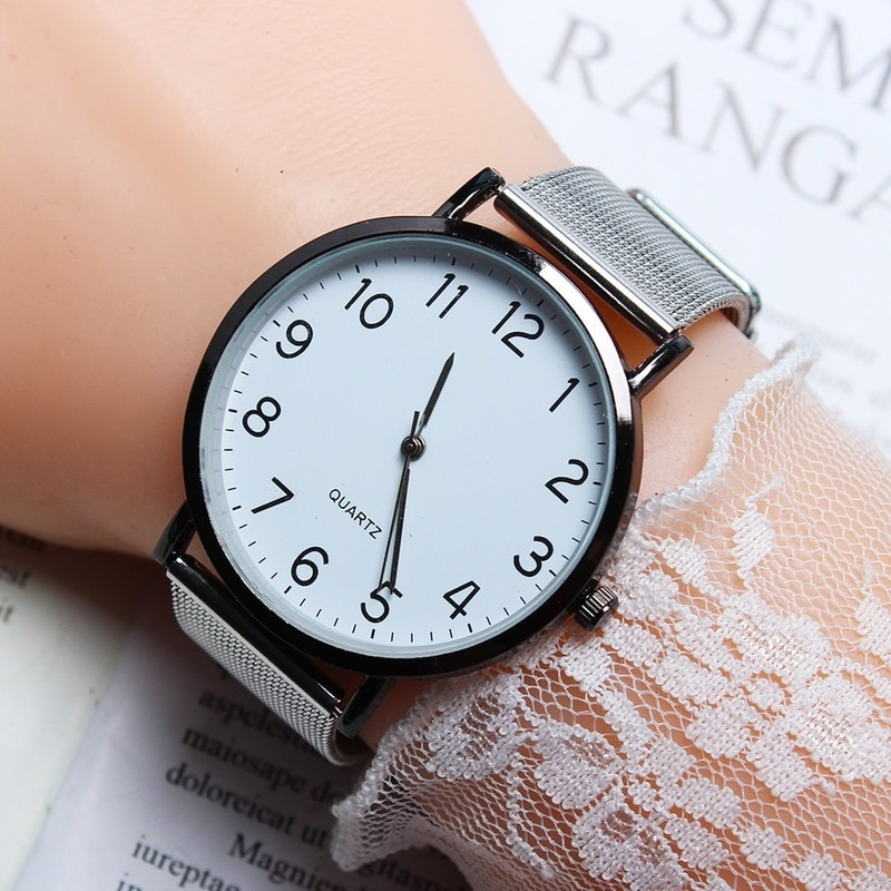 Ladies Watch Stainless Steel Analog Quartz Watch Bracelet New Fashion women watches Simple Dial beau