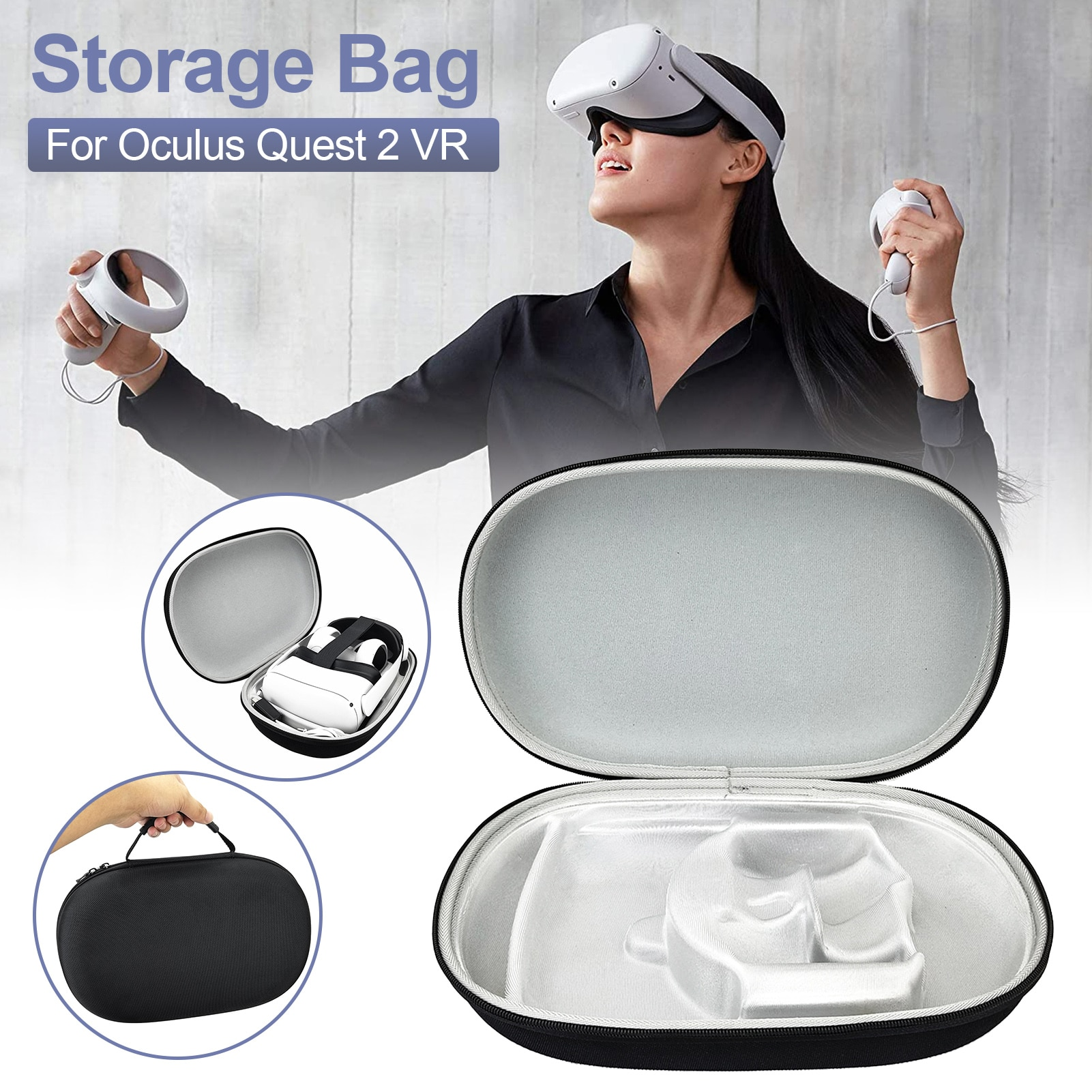 Portable Storage Box For Oculus Quest 2 Vr Glasses&Headset EVA Travel Carrying Case For Oculus Quest 2 Accessories Protector Bag