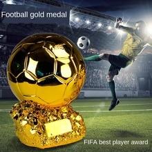 New15cm Home Decoration Golden Globe Football Match Resin Trophy CustomizationFIFAPlayer Award Trophy Crafts Decoration