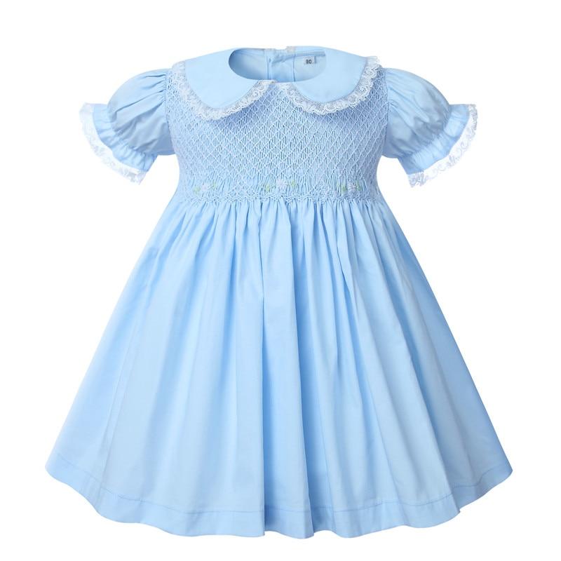 فستان قطن أزرق مدخن للبنات ، ملابس أطفال مطرزة ، ياقة بيتر بان