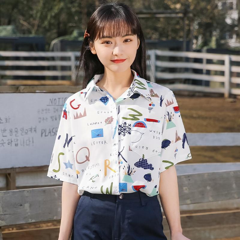 Chic Khaki 2021 New Summer Student Loose Beach Chiffon Shirt Short Sleeve Polo Collar Floral Casual