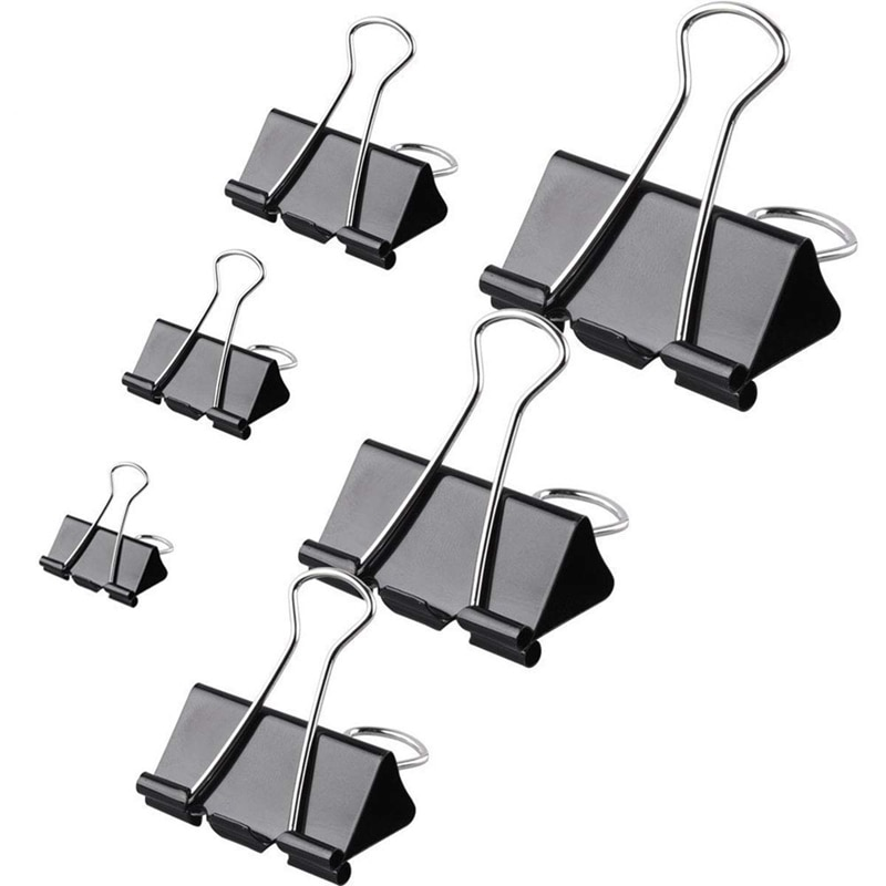120 pièces pinces à reliure pinces à papier assorties 6 tailles pinces à reliure à papier pinces à dos en métal pour fournitures de bureau, décole et de maison