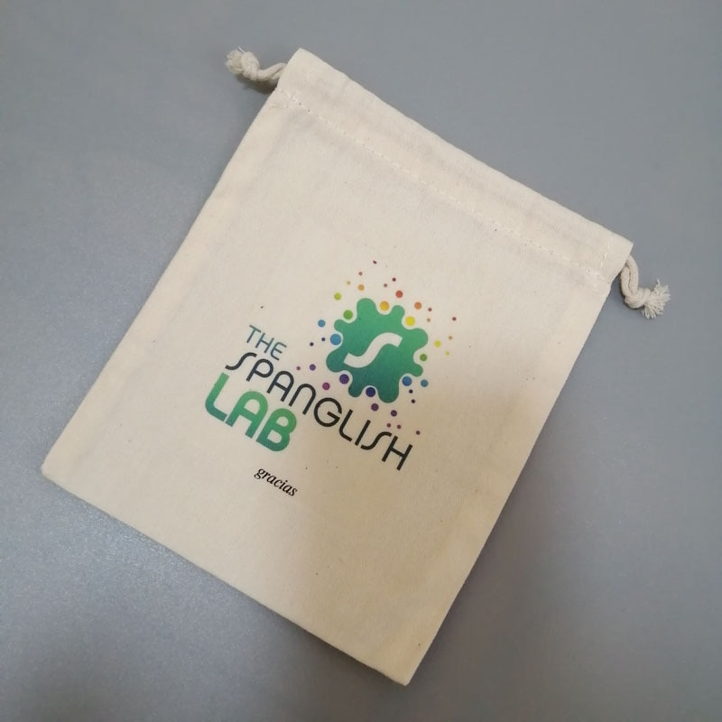 (100pcs/lot) Personalized custom logo cotton make up baggift pouch with your design printed