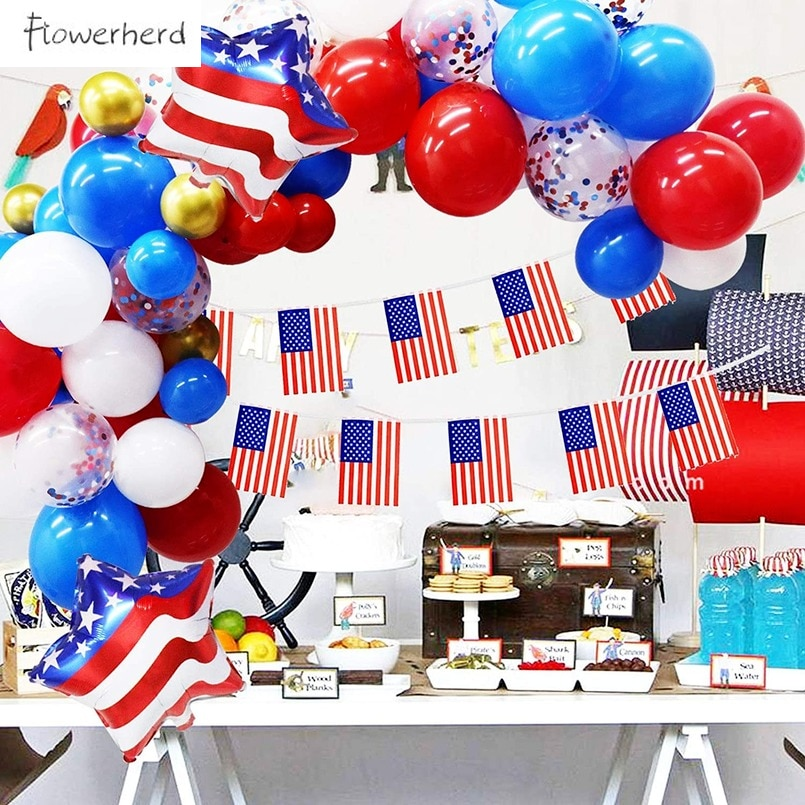 109Pack Patriotic Decorations Balloons Garland American Flag USA Party Supplies for 4th of July Independence Day Decoration