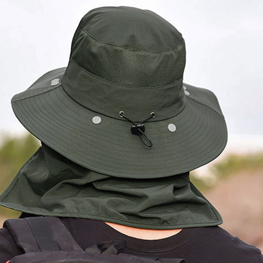 Fishing Hat Sun Cap Wide Brim with Removable Neck Flap Face Cover UV Sun Protection for Ourdoor Men Women Grey Green enlarge