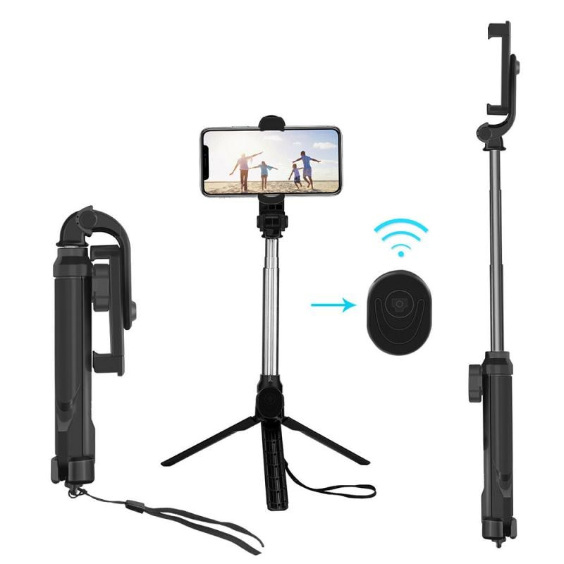 4 In 1 Bluetooth Handheld Monopod Selfie Stick Tripod Holder With Universal Wireless Remote Foldable Tripod For Phone Camera
