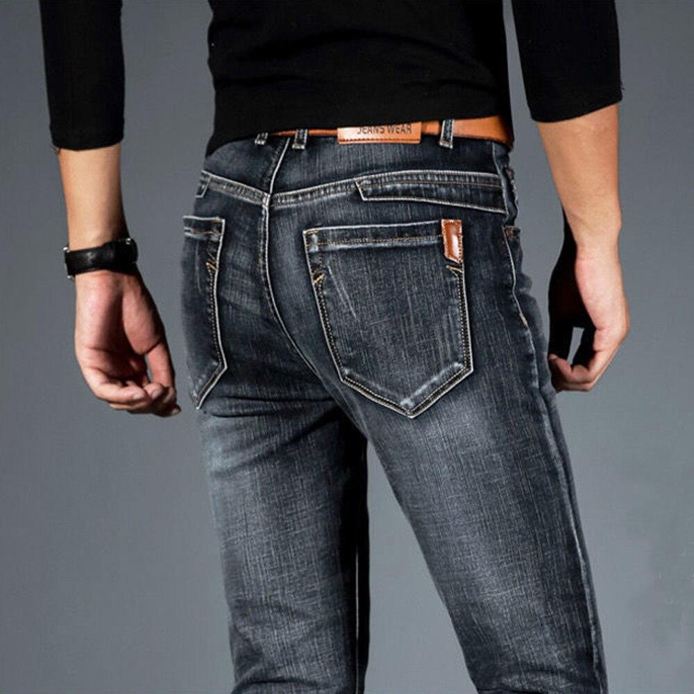 Джинсы мужские стрейчевые, модные прямые брюки из денима, повседневные стрейчевые, в деловом стиле, размеры 28-40, весна-осень