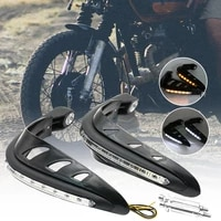 hot sales 2pcs motorcycle motorbike handlebar hand guards protector with safety led light