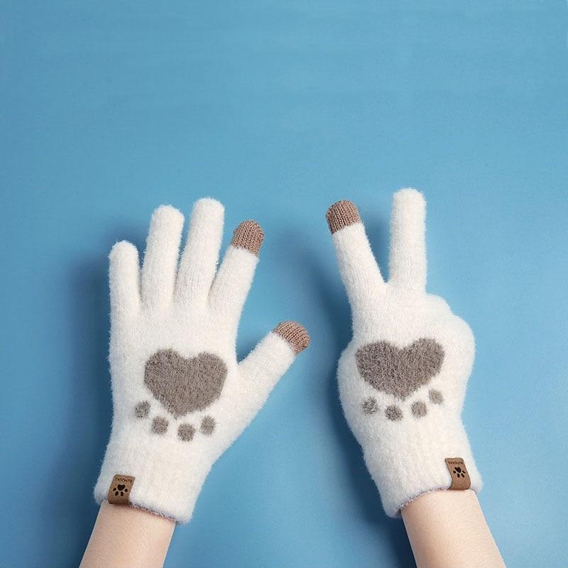 warm winter safety glove split cow leather welding work glove Autumn Winter Women's Gloves Touchscreen Cat Paw Pattern Warm Split Finger Glove Fleece Outdoor Cycling Driving Cold-Proof Glove