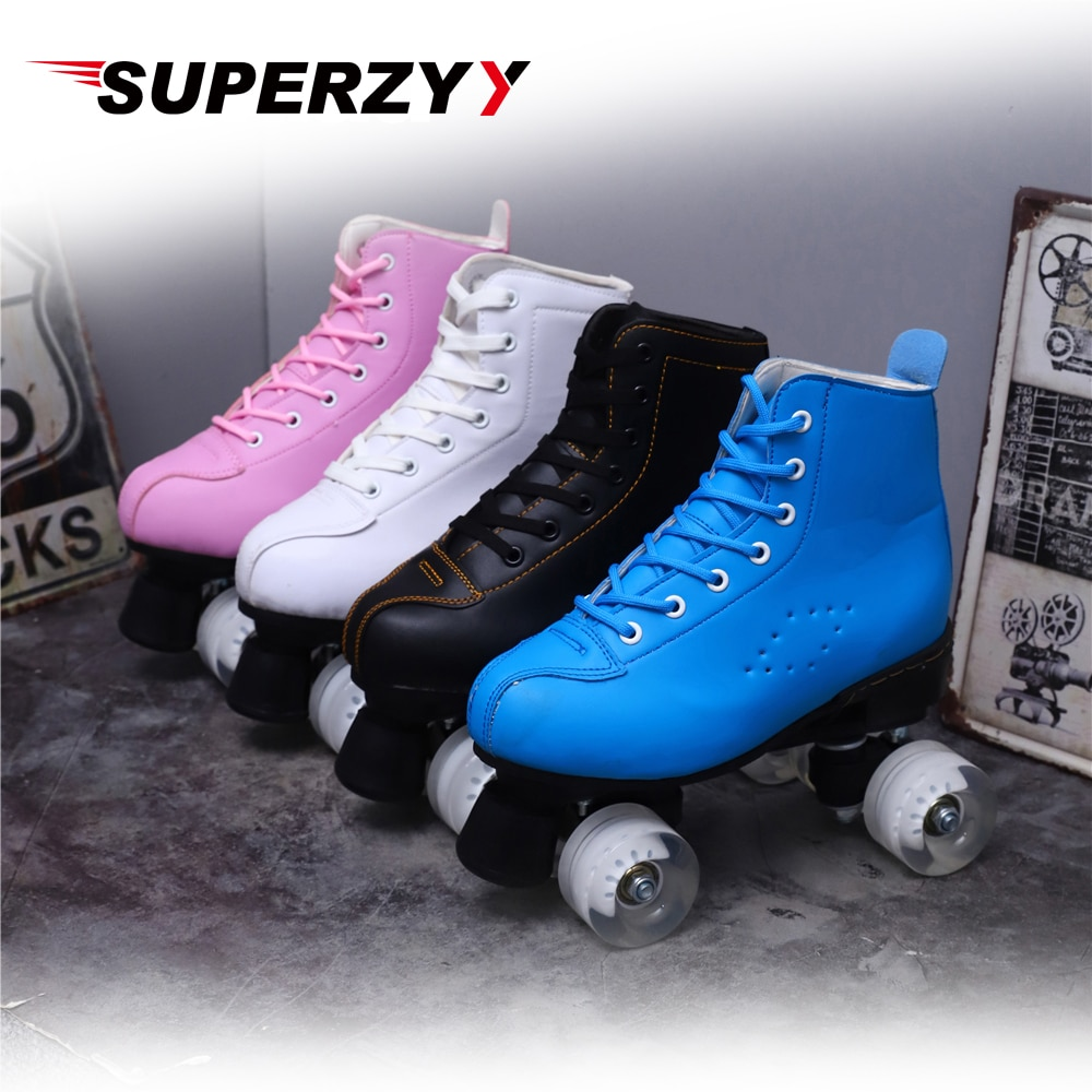 Artificial Leather Roller Skates Double Line Skates Women Men  Two Line Skate Shoes Patines With White PU 4 Wheels Patins