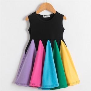 Princess Dress For Girls Candy Colorful Block Rainbow Clothes Kids Children Cotton Vestidos Children Patchwork Tutu Prom Gown