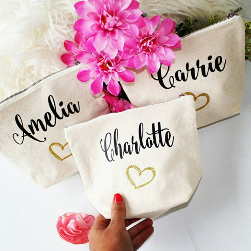 personalised names wedding bridesmaid bride Pouch birthday wedding Make Up comestic makeup Canvas Bags Gift