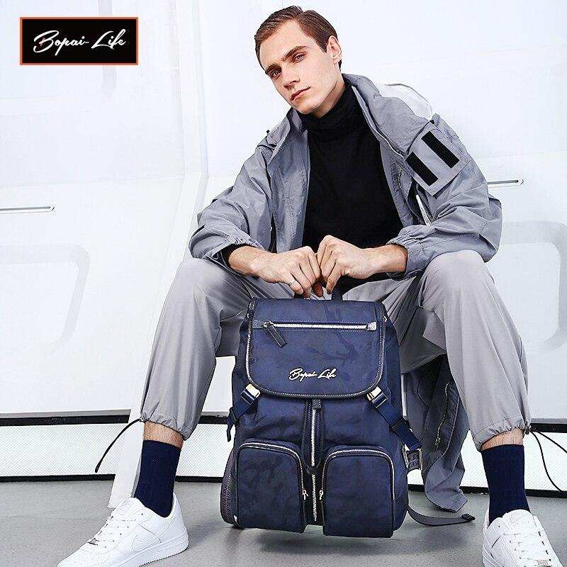 Рюкзак BOPAI LIFE мужской водонепроницаемый, модная повседневная спортивная сумка для ноутбука, оригинальный дизайн | АлиЭкспресс