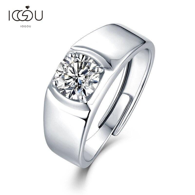 IOGOU-خاتم من الفضة الإسترليني عيار 925 مرصع بالألماس المويسانتي للرجال ، خاتم خطوبة دائري قابل للتعديل ، 6.5 فضة استرلينية ، 925 مللي متر