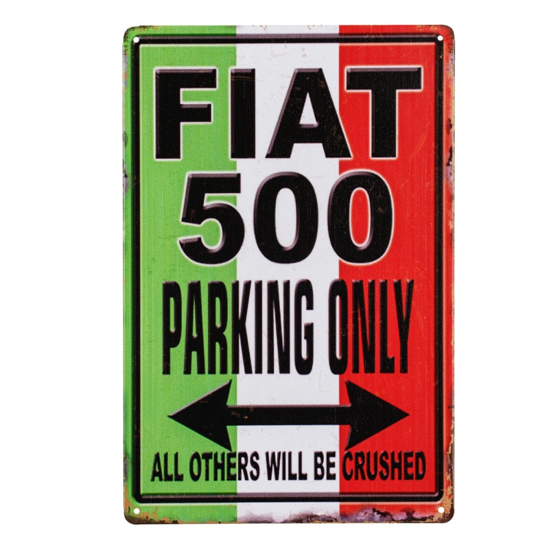 FIAT 500 PARKING METAL SIGN GARAGE DECOR PLAQUE SIGN