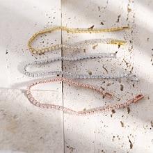 Trendy 100% 925 Sterling Silver Full 2.5mm 5A Zircon Tennis Bracelet for Women Korea Style Silver Ch