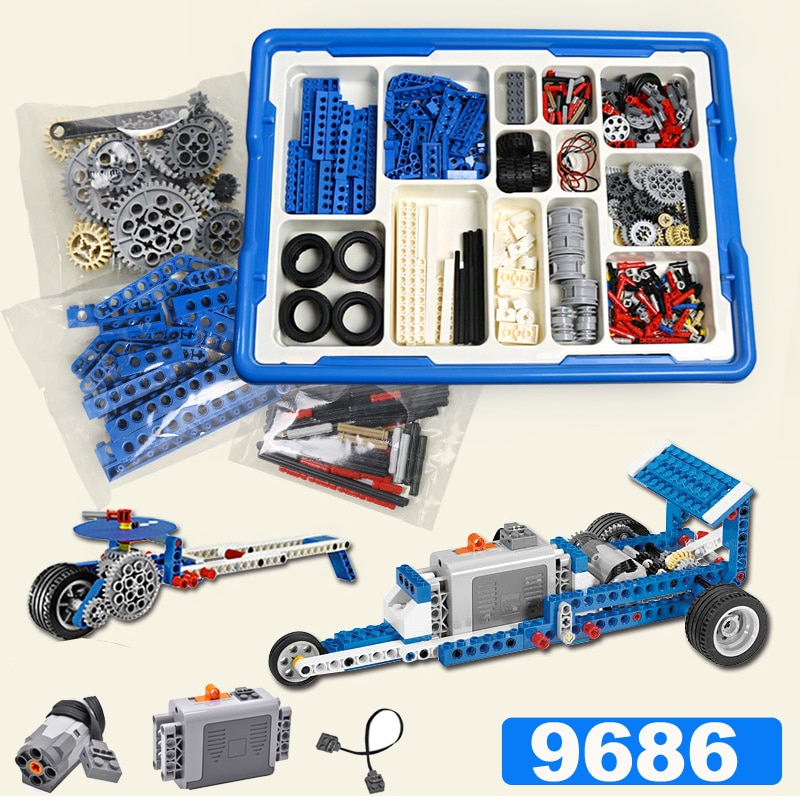 Technique compatible 9686 BRICOLAGE 9656. Pièces de bloc de construction. Ensemble daide de boîte de batterie de moteur pour la technologie MOC 9686. Compatible Legoin ensemble
