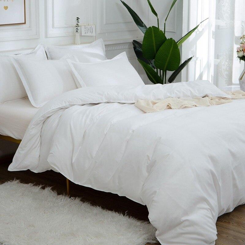 Egyptian Cotton White Bedding Set Satin Strip Luxury Bed Linen Euro Double Duvet Cover Set Queen Size Comforter Set No Sheet