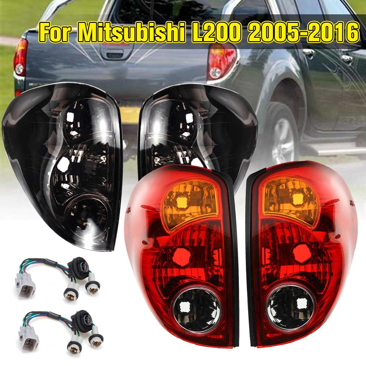 Luces traseras de vehículo para Mitsubishi L200 Triton Colt 2005-2016, 1 par, luces traseras, freno, con cable de reemplazo, humo