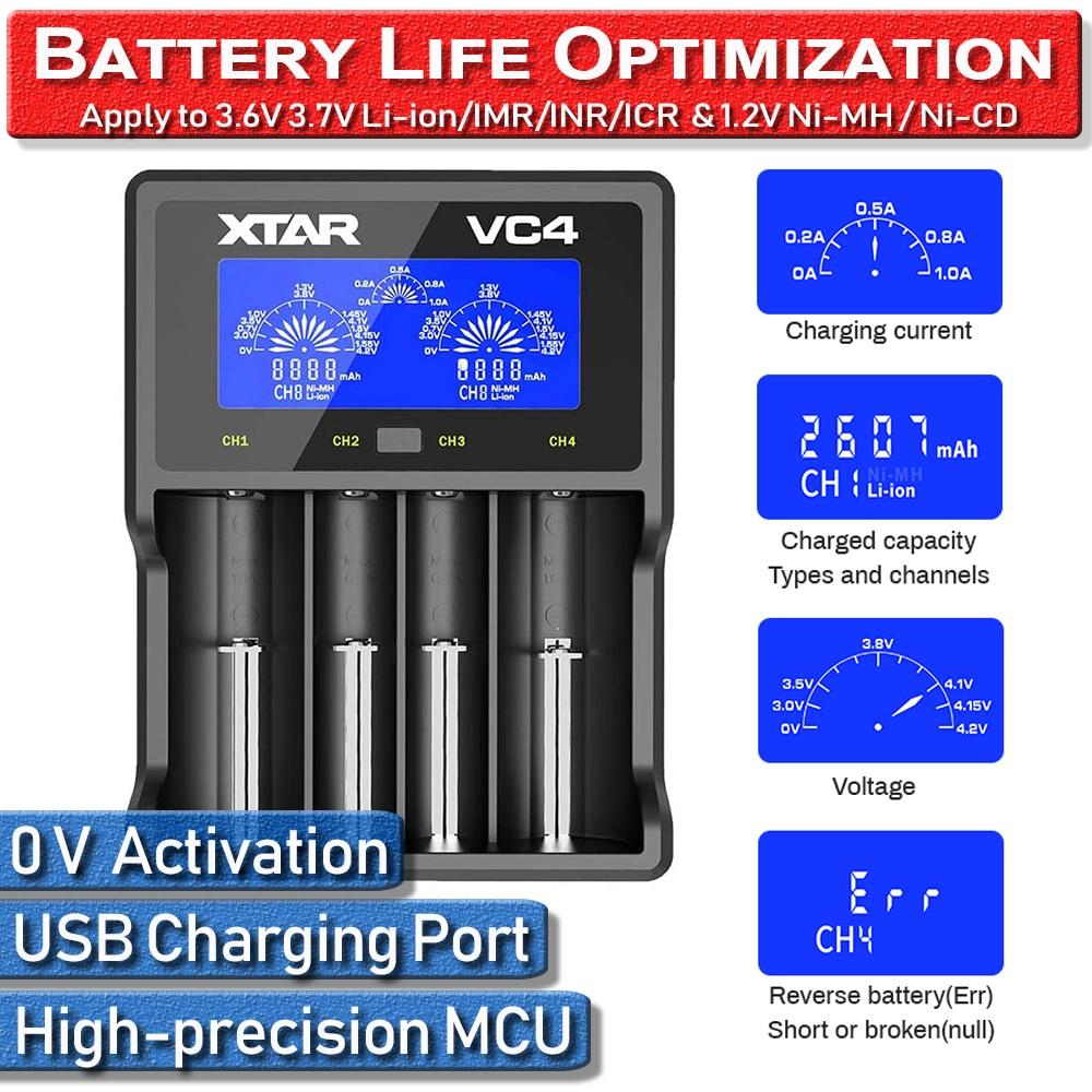 Carregador de bateria portátil de 4 compartimentos para li-ion ni-mh xtar vc4 18650 20700 21700 32650 20700 cr123a carregador de bateria