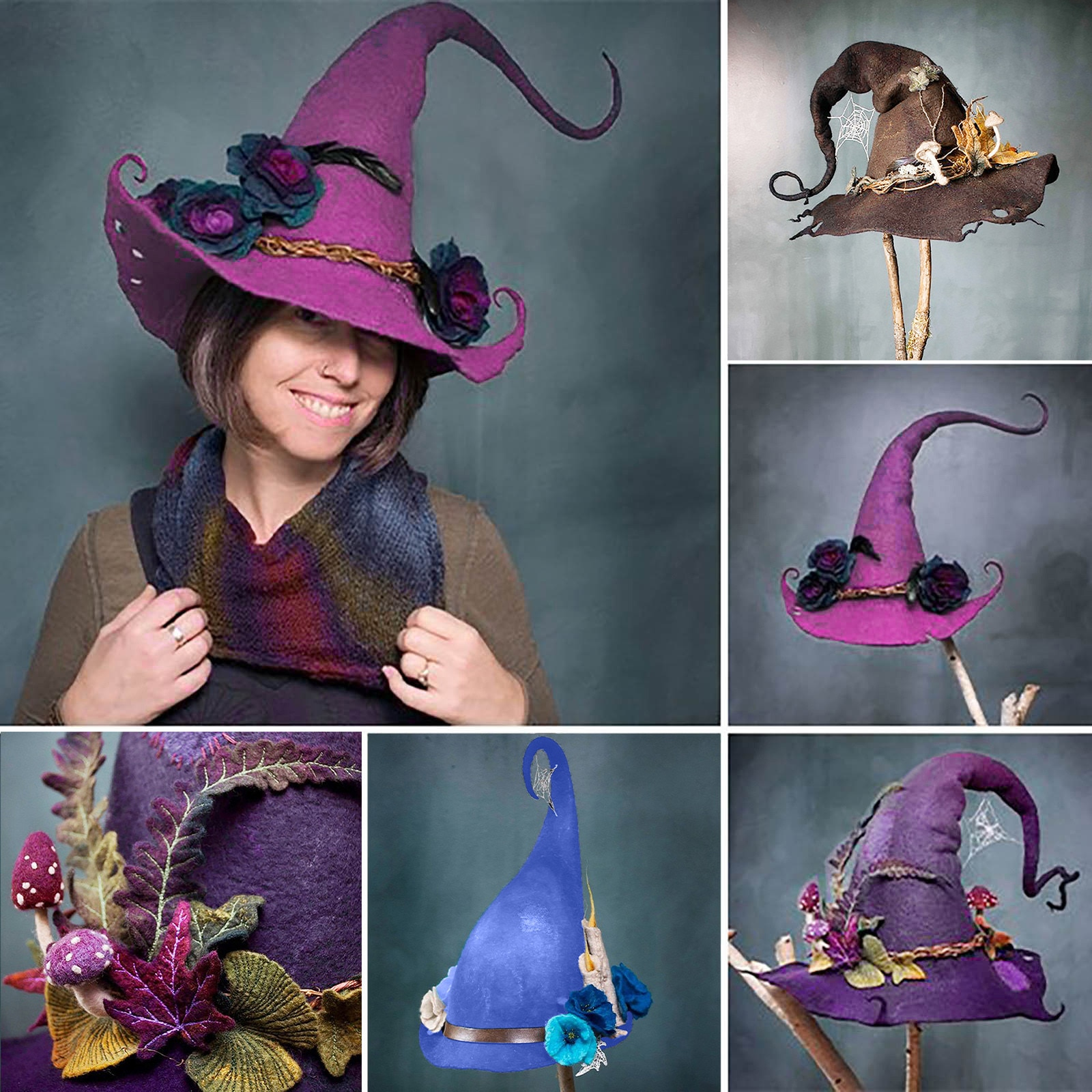 Witch Hat Costume Sharp Pointed Wool Felt Halloween Party Hats Witch Hat Warm Autumn Winter Cap Cosp
