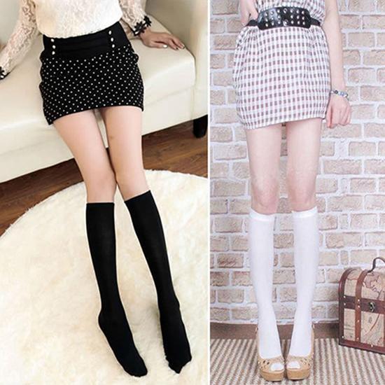 Tights Women Soft Velvet Solid Color Below Knee Socks High Boot Tube Socks School Stockings Pantyhose