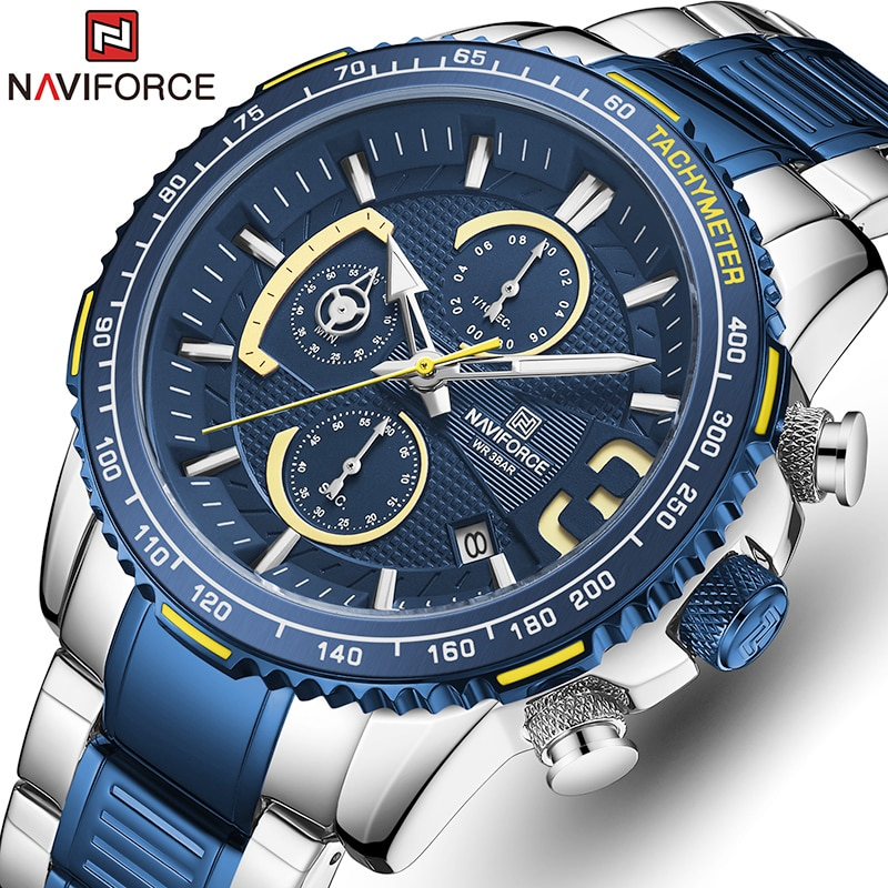 NAVIFORCE New Watches for Men Waterproof Quartz Watch Top Brand Mens Stainless Steel Sports Clock Chronograph Relogio Masculino