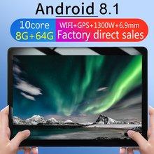 KT107-tablette à trou rond 10.1 pouces   Grand écran HD, Version Android 8.10, tablette Portable, mode 8 go + 64G, tablette noire, prise ue