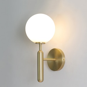 Nordic Personality Glass Ball Brass LED wall lamp Modern bedroom bedside wall light Simple indoor livingroom corridor style бра