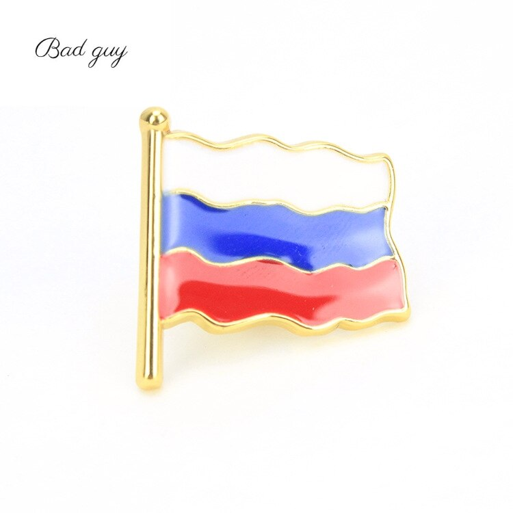 Golden Russian Flag Brooch Pins Lapel Pin Badge Corsage Sweater Coat Accessories Brooch for Women Party Wedding Brooches Pins