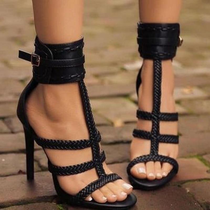 Summer 11cm Fashion Thin High Heels Sandals Open Toe Fish Mouth Shoes Hollow Sandals Nightclub Black