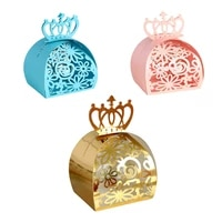 10pcs gold crown wedding favor box gift bags rose laser cut hollow candy dragee baptism box chocolate cardboard box paper box