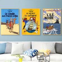 Autocollant mural de bande dessinée   Affiche classique Vintage, Camel, Tintin, aventure, désert, toile, Art, décoration murale, Bar, maison, cadeau