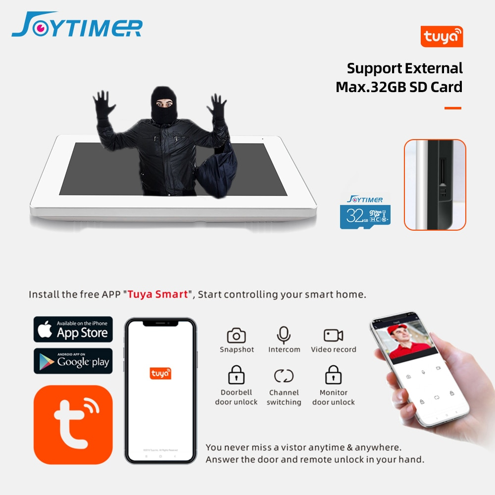Joytimer Wireless Video Intercom System IP Video Door Phone Full Touch Screen Monitor Support one-key Unlock wireless connection enlarge
